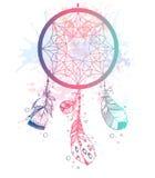 Wręcza patroszonemu wektorowemu rodowitemu amerykaninowi Indiańskiego talizmanu dreamcatcher w Obrazy Stock