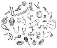 Wręcza patroszony ilustracyjnego ustawiającego sprawności fizycznej i sporta doodles znak ilustracja wektor