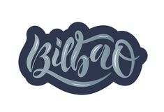 Wręcza patroszony letteing dla Bilbao w błękitnym kolorze ilustracja wektor