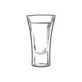 Wręcza patroszony szklany pełnego tequila, odosobniona wektorowa ilustracja ilustracja wektor