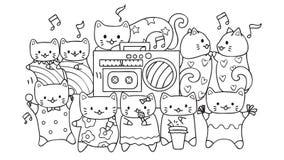 Wręcza patroszonych ślicznych koty słucha i tanczy muzyka dla projekta elementu i kolorystyki książki strony dla dzieciaków ilustracja wektor