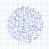 Wręcza patroszonych atramentów serca na notatnika kawałku papieru Walentynka dnia ilustracja dla miłości zaproszenia lub karty Obraz Royalty Free