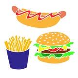 Wręcza patroszonych fastów food produkty dla dekorować sztandary, ulotki, po royalty ilustracja