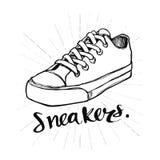 Wręcza patroszonych kaligrafii sneakers, ikona projekt lub loga, Pisać list, Zdjęcie Stock