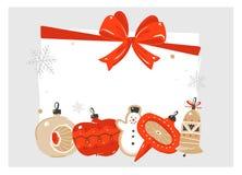 Wręcza patroszonych wektorowych abstrakcjonistycznych Wesoło boże narodzenia i Szczęśliwą nowego roku czasu kreskówkę ilustracyjn ilustracja wektor