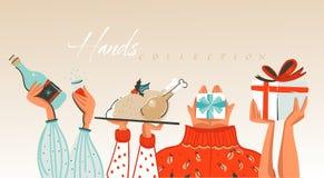 Wręcza patroszonych wektorowych abstrakcjonistycznych Wesoło boże narodzenia i Szczęśliwe nowy rok kreskówki ilustracje wita inka royalty ilustracja