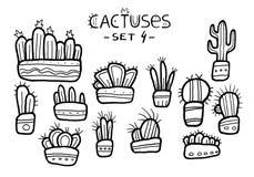 Wręcza patroszonych zadziwiających kaktusy w ślicznych garnkach odizolowywających na białym tle Atrament rysujący set dzieci targ ilustracja wektor