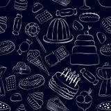Wręcza patroszonym cukierkom bezszwowego wzór na ciemnym tle ilustracji