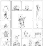 Wręcza patroszonym książkowym półkom bezszwowego deseniowego tła czerń biały kontur Zdjęcia Stock
