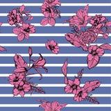 Wręcza patroszonym nowożytnym kwiatom bezszwowego deseniowego wektor na lampasa desi ilustracji