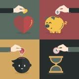 Wręcza pieniądze, czas, serce i pomysł oszczędzania, Fotografia Royalty Free