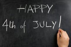 Wręcza pisać Szczęśliwym Kwietnia durnia s dnia blackboard chalkboard Fotografia Stock