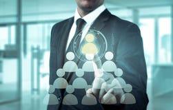 Wręcza przewożenie biznesmena ikony sieć - HR, HRM, MLM, pracy zespołowej i przywódctwo pojęcie, Obrazy Stock