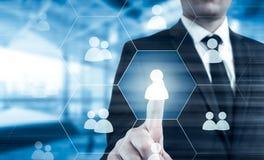 Wręcza przewożenie biznesmena ikony sieć - HR, HRM, MLM, pracy zespołowej i przywódctwo pojęcie, Zdjęcia Stock