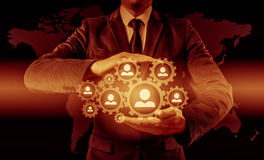 Wręcza przewożenie biznesmena ikony sieć - HR, HRM, MLM, pracy zespołowej i przywódctwo pojęcie, Zdjęcie Royalty Free