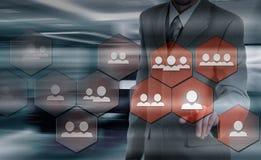 Wręcza przewożenie biznesmena ikony sieć - HR, HRM, MLM, pracy zespołowej i przywódctwo pojęcie, Fotografia Stock