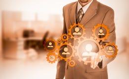 Wręcza przewożenie biznesmena ikony sieć - HR, HRM, MLM, pracy zespołowej i przywódctwo pojęcie, Zdjęcie Stock