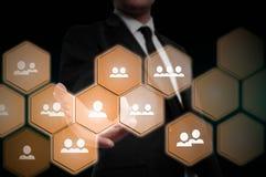 Wręcza przewożenie biznesmena ikony sieć - HR, HRM, MLM, pracy zespołowej i przywódctwo pojęcie, Fotografia Royalty Free