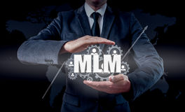 Wręcza przewożenie biznesmena ikony sieć - HR, HRM, MLM, pracy zespołowej i przywódctwo pojęcie, Obraz Royalty Free