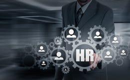 Wręcza przewożenie biznesmena ikony sieć - HR praca zespołowa i przywódctwo pojęcie Fotografia Royalty Free
