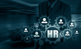 Wręcza przewożenie biznesmena ikony sieć - HR praca zespołowa i przywódctwo pojęcie Fotografia Stock