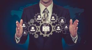 Wręcza przewożenie biznesmena ikony sieć - HR praca zespołowa i przywódctwo pojęcie Zdjęcia Stock