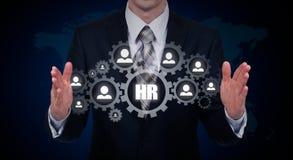 Wręcza przewożenie biznesmena ikony sieć - HR praca zespołowa i przywódctwo pojęcie Obrazy Royalty Free