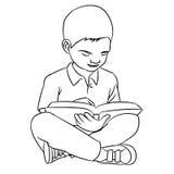 Wręcza rysować A chłopiec czytanie - Wektorowa ilustracja Zdjęcia Stock