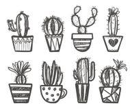Wręcza rysującego set kaktus w garnkach Zdjęcie Royalty Free