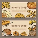 Wręcza rysującego set wektorowa ilustracji kart kolekcja wypiekowi przysmaki, chleb, babeczki i ciasta, wokoło listów ilustracji