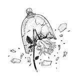 Wręcza rysujący łamający dzikiego wzrastał na widoku ręk pod szkłem Tatuażu temat Wektorowa nakreślenie ilustracja ilustracja wektor