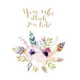 Wręcza rysunek odizolowywającej akwareli kwiecistą ilustrację z liśćmi, kwitnie i upierza, gałąź, indygowa Watercolour sztuka ilustracja wektor