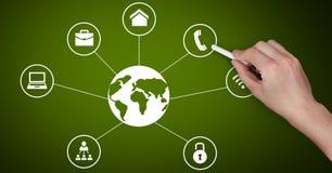 Wręcza rysunkową biznesowej grafiki ikonę na zielonym chalkboard Obraz Stock