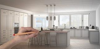 Wręcza rysunkową obyczajową klasyczną białą, drewnianą kuchnię z i Dostosowywający niedokończony projekt architektury wnętrze obrazy stock