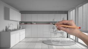 Wręcza rysunkową obyczajową nowożytną białą kuchnię z stołem i krzesłami Dostosowywający niedokończony projekt architektury wnętr fotografia stock