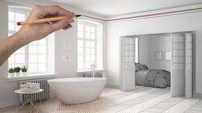 Wręcza rysunkową obyczajową nowożytną klasyczną białą i drewnianą łazienkę z sypialnią w tle Dostosowywający niedokończony projek Zdjęcia Stock
