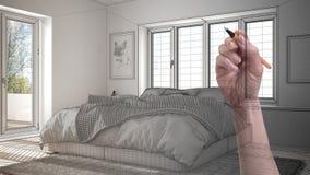 Wręcza rysunkową obyczajową nowożytną minimalistyczną białą sypialnię z dużym okno Dostosowywający niedokończony projekt architek fotografia royalty free