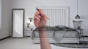 Wręcza rysunkową obyczajową nowożytną minimalistyczną scandinavian sypialnię z drewnianym headboard Dostosowywający niedokończony zdjęcia stock