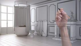 Wręcza rysunkową obyczajową nowożytną rocznik łazienkę z grabą Dostosowywający niedokończony projekt architektury wnętrze zdjęcia royalty free