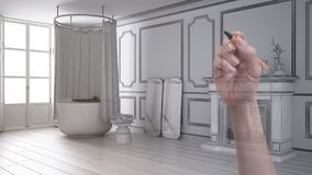 Wręcza rysunkową obyczajową nowożytną rocznik łazienkę z grabą Dostosowywający niedokończony projekt architektury wnętrze obraz royalty free