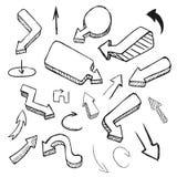 Wręcza rysunkową wektorową strzałkowatą kolekcję, doodle ilustracja na białym tle Zdjęcia Stock