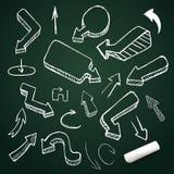 Wręcza rysunkową wektorową strzałkowatą kolekcję, doodle ilustracja na chalkboard z kredą Obraz Royalty Free