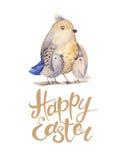 Wręcza rysunkowej Easter akwareli latającego kreskówka ptaka z liśćmi, ilustracji