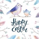 Wręcza rysunkowej Easter akwareli latającego kreskówka ptaka z liśćmi, royalty ilustracja