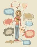 Wręcza rysunkowych śmiesznych infographics elementy z dziewczyną iść dla sho Zdjęcia Royalty Free