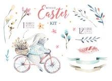 Wręcza rysunkowych Easter akwareli kreskówki króliki z liśćmi, otręby royalty ilustracja