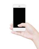 Wręcza trzymać białego smartphone przycina parawanowego pokazu odizolowywający Zdjęcia Royalty Free