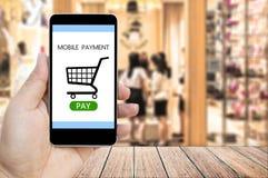 Wręcza trzymać mądrze telefon z mobilną zapłatą i wózek na zakupy Zdjęcie Stock