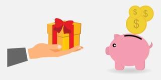 Wręcza trzymać prezent i prosiątko banka z dolarowym symbolem ilustracji