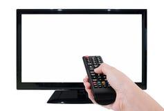 Wręcza trzymać TV daleki z DOWODZONYM TV i pustym ekranem odizolowywającymi dalej Zdjęcie Royalty Free